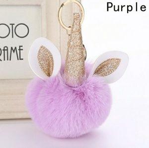 Accessories - Unicorn keychain puff ball purple gold purse chain